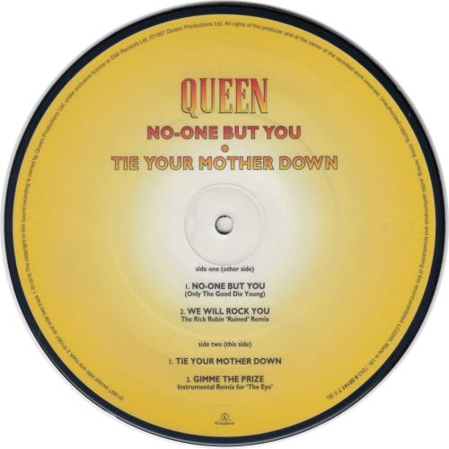 "Queen No One But You 7"" vinyl picture disc 7 inch picture disc single UK QUE7PNO101954"
