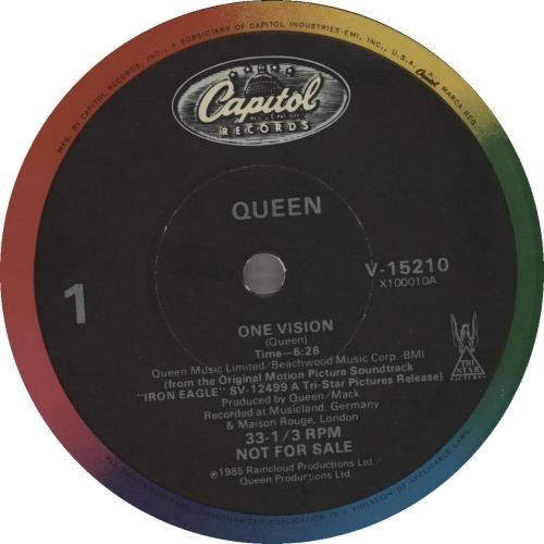 """Queen One Vision 12"""" vinyl single (12 inch record / Maxi-single) US QUE12ON10295"""