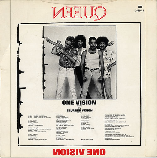 """Queen One Vision 7"""" vinyl single (7 inch record) UK QUE07ON29678"""