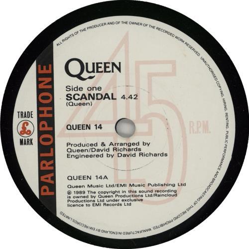 "Queen Scandal 7"" vinyl single (7 inch record) UK QUE07SC750116"
