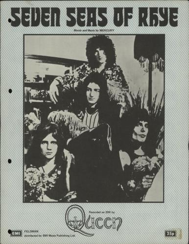 Queen Seven Seas Of Rhye - Green & White sheet music UK QUESMSE673433