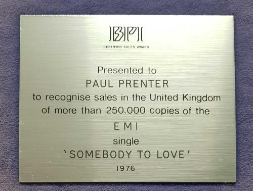 Queen Somebody To Love - Silver award disc UK QUEAWSO703538