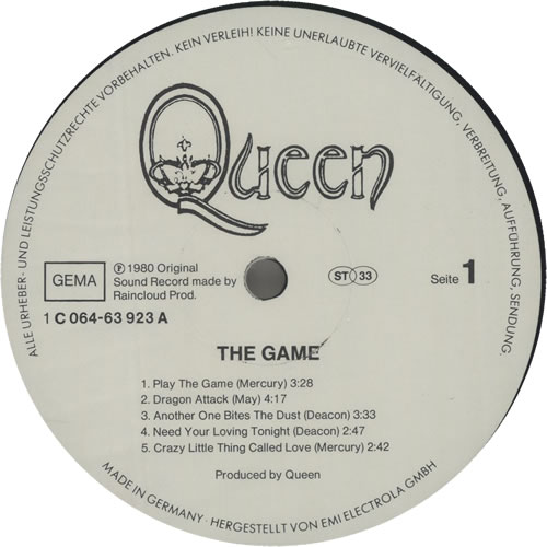 Queen The Game vinyl LP album (LP record) German QUELPTH638030