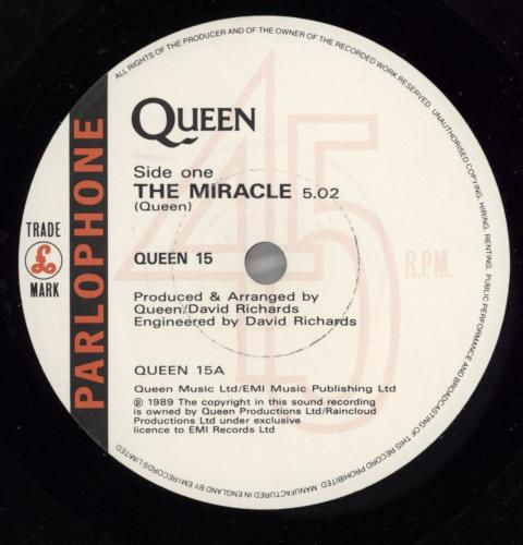 """Queen The Miracle 7"""" vinyl single (7 inch record) UK QUE07TH640366"""