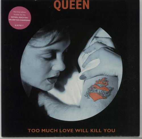 """Queen Too Much Love Will Kill You - Pink Vinyl 7"""" vinyl single (7 inch record) UK QUE07TO61141"""