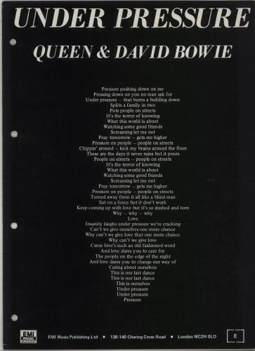 Queen Under Pressure sheet music UK QUESMUN673385