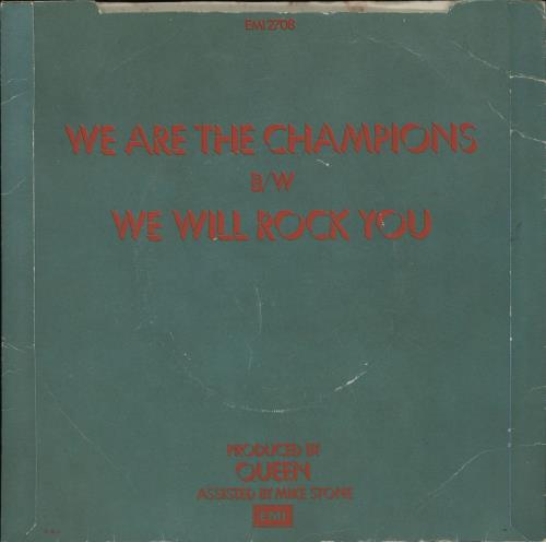 """Queen We Are The Champions + p/s - EX 7"""" vinyl single (7 inch record) UK QUE07WE27738"""