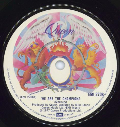 "Queen We Are The Champions 7"" vinyl single (7 inch record) UK QUE07WE557071"