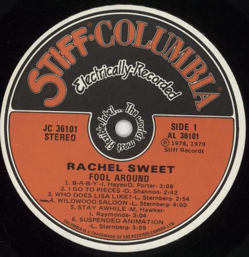 Rachel Sweet Fool Around vinyl LP album (LP record) US RS1LPFO676818