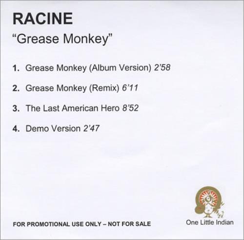 Racine Grease Monkey CD-R acetate UK RCVCRGR391936