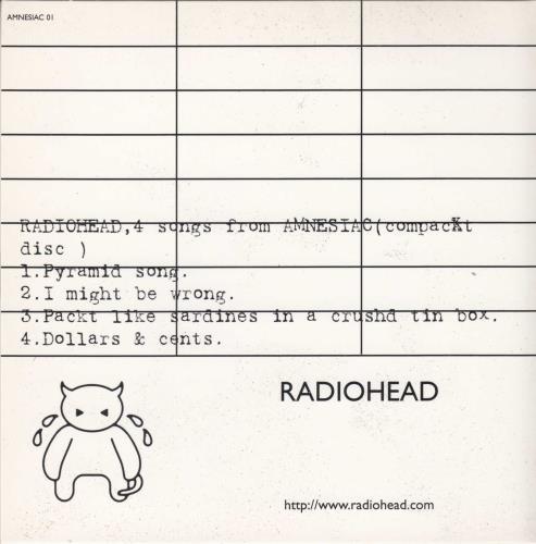 "Radiohead 4 Songs From Amnesiac CD single (CD5 / 5"") UK R-HC5SO182811"