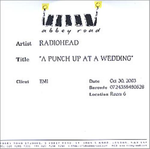 Radiohead A Punch Up At A Wedding CD-R acetate UK R-HCRAP270475