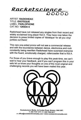"Radiohead Idioteque + PR 12"" vinyl single (12 inch record / Maxi-single) UK R-H12ID172617"