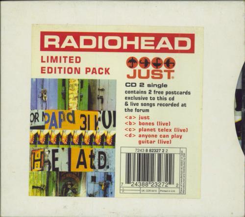 Radiohead Just - Promo stickered slipcase 2-CD single set (Double CD single) UK R-H2SJU208885