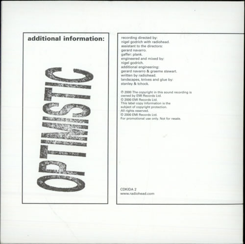 "Radiohead Optimistic CD single (CD5 / 5"") UK R-HC5OP167951"