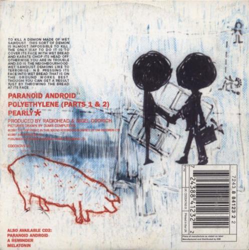 "Radiohead Paranoid Android - CD1 CD single (CD5 / 5"") UK R-HC5PA86155"