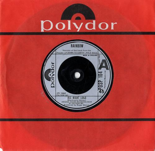 "Rainbow All Night Long 7"" vinyl single (7 inch record) UK RBO07AL550280"