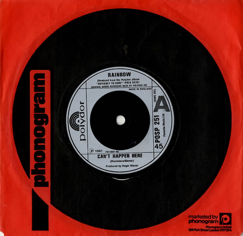 "Rainbow Can't Happen Here 7"" vinyl single (7 inch record) UK RBO07CA576852"