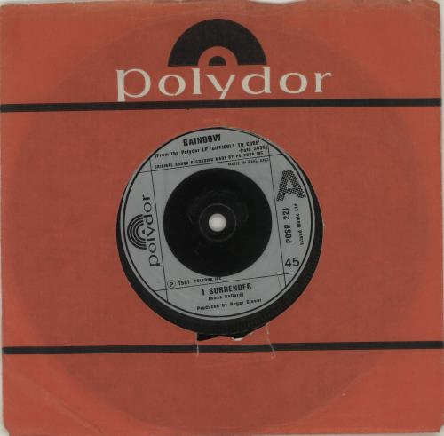 """Rainbow I Surrender - Injection 7"""" vinyl single (7 inch record) UK RBO07IS575638"""