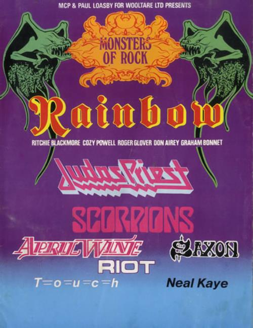 Rainbow Monsters Of Rock tour programme UK RBOTRMO567105