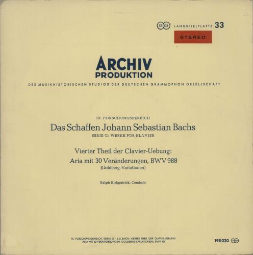 Ralph Kirkpatrick Bach: Vierter Theil Der Clavier-Uebung: Aria Mit 30 Veränderungen, BWV988 (Goldberg Variationen) vinyl LP album (LP record) German XDMLPBA651523