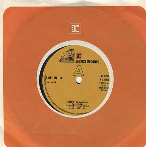 "Ralph McTell Streets Of London - Solid Centre 7"" vinyl single (7 inch record) UK 7RM07ST303722"