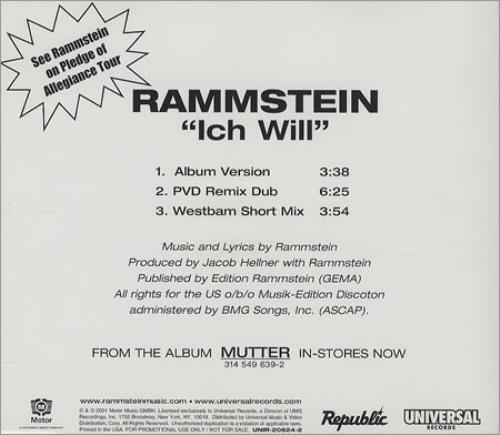 Rammstein Ich Will CD Single CD5 5 US RMMC5IC199979