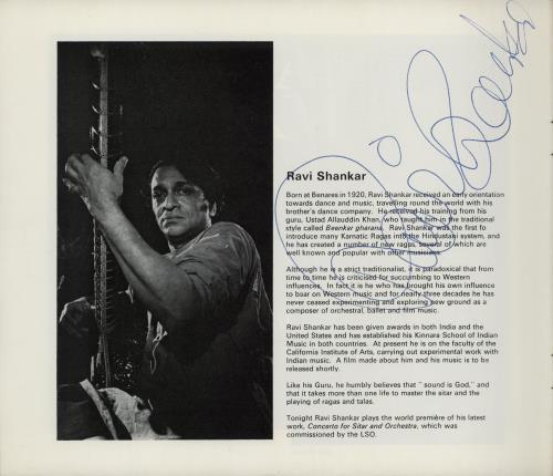 Ravi Shankar LSO International Series 1970-71 - Autographed tour programme UK RVKTRLS754753