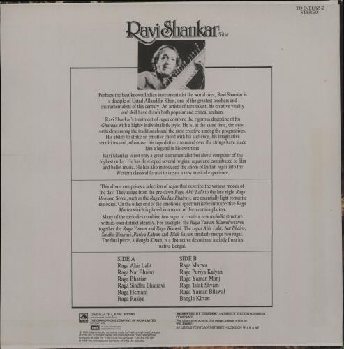 Ravi Shankar Sitar vinyl LP album (LP record) Indian RVKLPSI751496