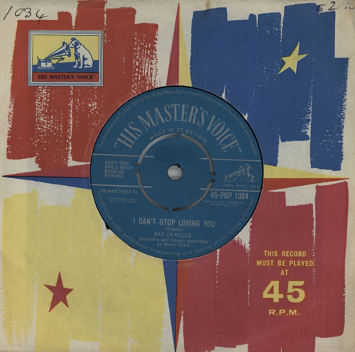 """Ray Charles I Can't Stop Loving You - 1st 7"""" vinyl single (7 inch record) UK RYH07IC547733"""
