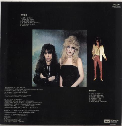 Reckless (Canadian) Reckless vinyl LP album (LP record) UK R7CLPRE730359