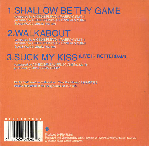 """Red Hot Chili Peppers Shallow Be Thy Game CD single (CD5 / 5"""") Australian RHCC5SH68090"""