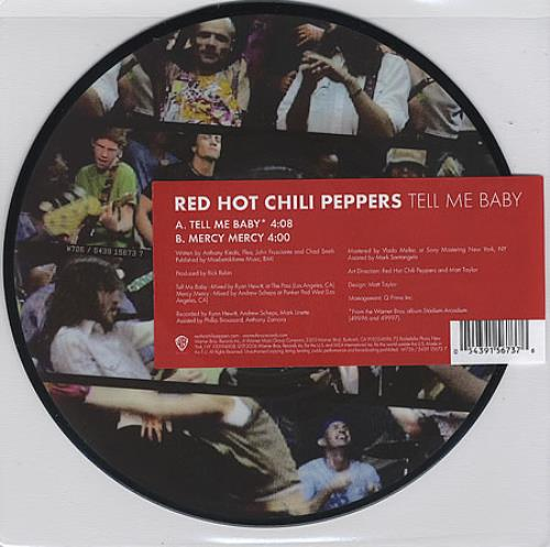 "Red Hot Chili Peppers Tell Me Baby 7"" vinyl picture disc 7 inch picture disc single UK RHC7PTE365099"