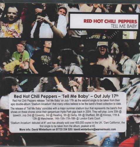 Red Hot Chili Peppers Tell Me Baby CD-R acetate UK RHCCRTE669240