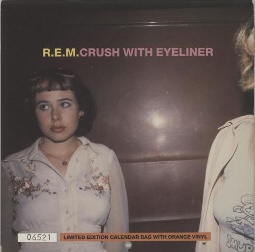 "REM Crush With Eyeliner - Orange Vinyl + Calendar 7"" vinyl single (7 inch record) UK REM07CR40832"