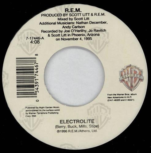"""REM Electrolite 7"""" vinyl single (7 inch record) US REM07EL764924"""