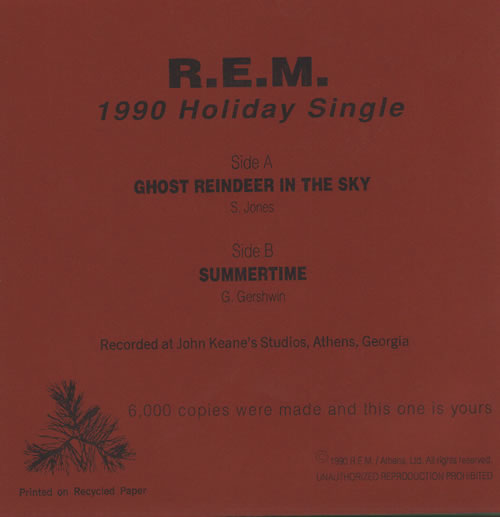 "REM Ghost Reindeer 7"" vinyl single (7 inch record) US REM07GH54876"