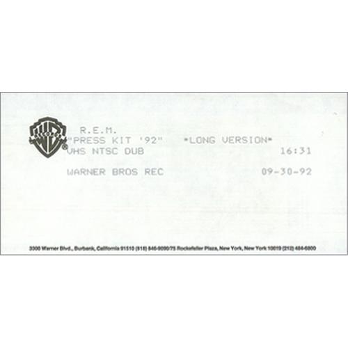 REM Press Kit '92 video (VHS or PAL or NTSC) US REMVIPR424987