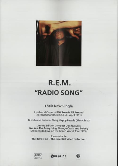 "REM Radio Song + 'Our Price' Promo Poster 12"" vinyl single (12 inch record / Maxi-single) UK REM12RA567117"