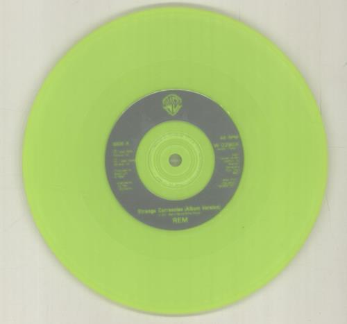 "REM Strange Currencies - Neon Green Vinyl 7"" vinyl single (7 inch record) UK REM07ST606159"