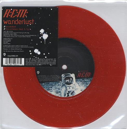 "REM Wanderlust - Red Glitter Vinyl 7"" vinyl single (7 inch record) UK REM07WA328796"