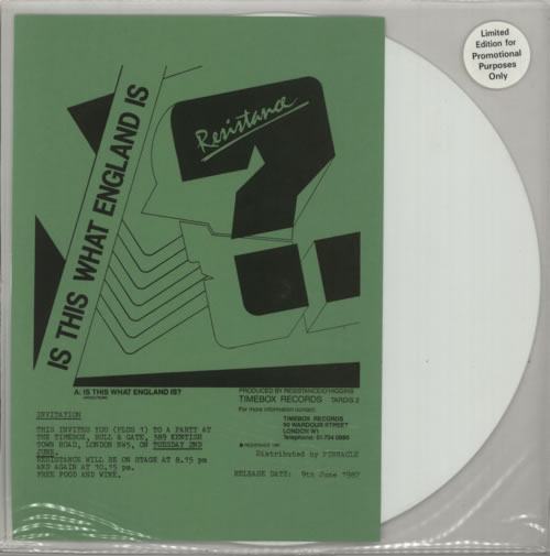 "Resistance Is This What England Is? - White Vinyl 12"" vinyl single (12 inch record / Maxi-single) UK W3012IS617514"