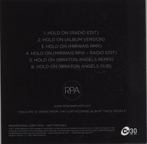 Richard Ashcroft Hold On - 6-mixes CD-R acetate UK CFTCRHO664008