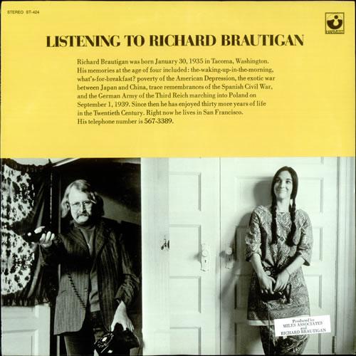 Richard Brautigan Listening To Richard Brautigan - Sealed vinyl LP album (LP record) US R0LLPLI523933