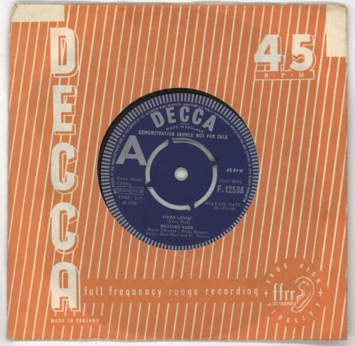 "Richard Kerr Hard Lovin' - A Label 7"" vinyl single (7 inch record) UK RK-07HA730319"