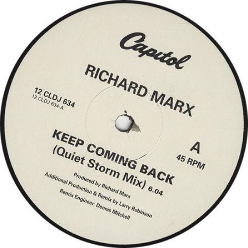 "Richard Marx Keep Coming Back 12"" vinyl single (12 inch record / Maxi-single) UK MRX12KE34644"
