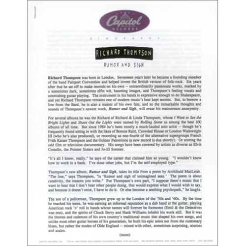 Richard Thompson Rumor & Sigh media press pack US RTHPPRU202407