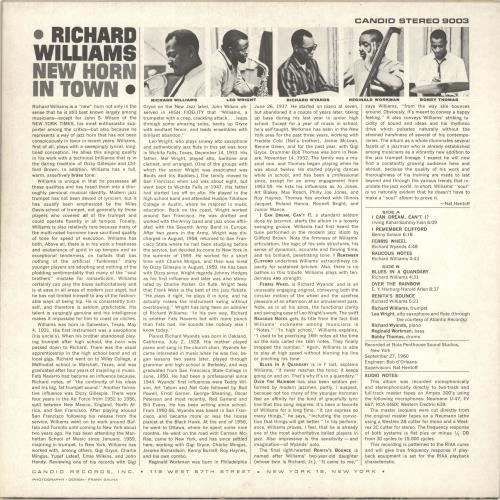 Richard Williams New Horn In Town vinyl LP album (LP record) US R1YLPNE693936