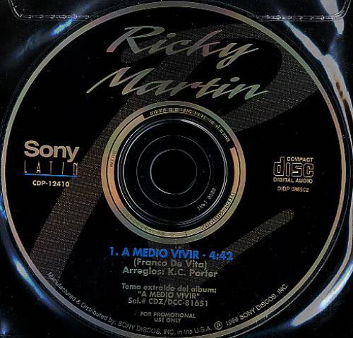 "Ricky Martin A Medio Vivir CD single (CD5 / 5"") US RKMC5AM361528"