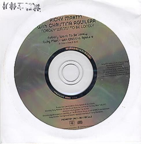 "Ricky Martin Nobody Wants To Be Lonely CD single (CD5 / 5"") Taiwanese RKMC5NO180341"